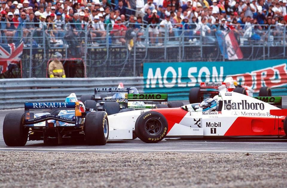 Kanada GP 1995 - Mika Hakkinen (McLaren) ve Johnny Herbert (Benetton)